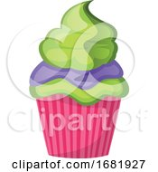 Green Velvet Cupcake With Purple And Green Topping by Morphart Creations