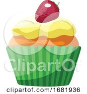 Vanilla Cupcake With Yellow Glaze And Strawberry
