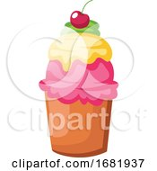 Big Colorful Cupcake With Sherry On Top