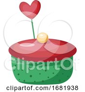 Poster, Art Print Of Green And Red Cupcake With Heart
