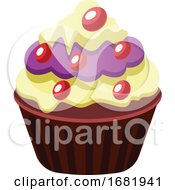 Chocolate Cupcake With Yellow And Purple Icings by Morphart Creations