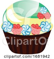 Chcolate Cupcake With Flower Decoration by Morphart Creations