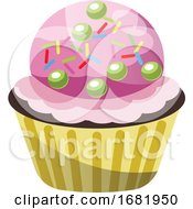 Chocolate Cupcake With Ice Cream And Sprinkles