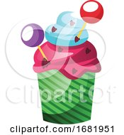 Colorful Cupcake With Lollipop Decoration
