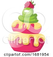 Raspberry Cupcakes With Green Icing