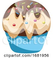 Cupcake With Vanilla And Chcolate Icing With Sprinkles by Morphart Creations