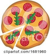 Poster, Art Print Of Salami Pizza With Arugula