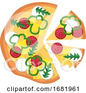 Poster, Art Print Of Pizza With Pepperoni Veggies And A Lot Of Cheese