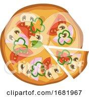 Hammushroom And Tomato Pizza
