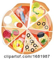 Poster, Art Print Of Eight Different Slices Of Pizza