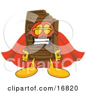 Clipart Picture Of A Chocolate Candy Bar Mascot Cartoon Character Dressed As A Super Hero by Toons4Biz