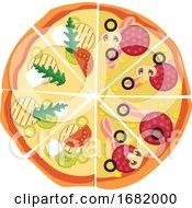 Poster, Art Print Of Half Pepperonihalf Veggie Pizza