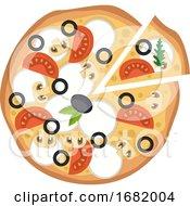 Pizza With Veggies And Mozzarella