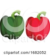 Poster, Art Print Of Green And Red Bellpepper