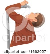 Poster, Art Print Of Man Drinking Water From Tap
