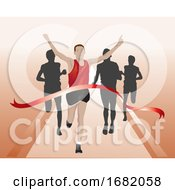 Runners Crossing The Finish Line Illustration