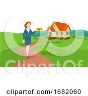 Woman Real Estate Agent Selling A House Illustration