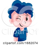 Boy With A Blue Curly Hair Winking