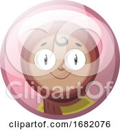 Cartoon Character Of A Smiling Arab Girl In A Hijab