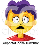 Young Boy With Purple Hair Is Depressed