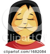Calm Woman With A Long Black Hair