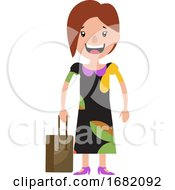 A Young Woman In A Dress Smiling And Holding Her Bag