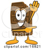 Clipart Picture Of A Chocolate Candy Bar Mascot Cartoon Character Waving And Pointing