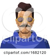 Handsome Guy With Moustaches And Sunglasses