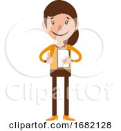 Cartoon Woman Holding A Document