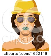 Pretty Girl Wearing Yellow Hat And Glasses