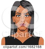 Beautifu Caucasianl Girl With Long Black Hair