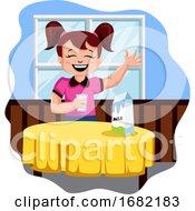 Happy Girl Drinking Milk