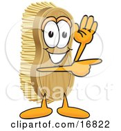 Scrub Brush Mascot Cartoon Character Waving And Pointing To The Right