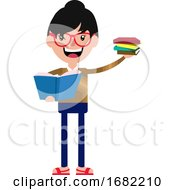 Poster, Art Print Of Cheerful Cartoon Young Woman Holding Some Books