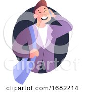 Cute Cartoon Guy Speaking On The Phone Illustration
