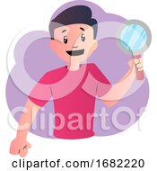 Poster, Art Print Of Happy Cartoon Boy With Magnifier