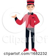 Doorman Character In Red And Black Suit