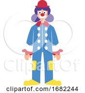 Clown Character In Colorful Suit