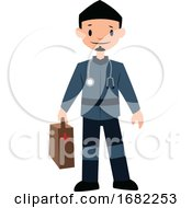 Paramedic In Blue Uniform Character