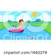 Poster, Art Print Of Lake Fishing Illustration