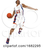 Basketball Player Going For A Slam Dunk