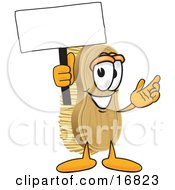 Clipart Picture Of A Scrub Brush Mascot Cartoon Character Waving A Blank White Advertising Sign