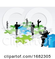 Poster, Art Print Of 3d Business Silhouette Assembling A Puzzle