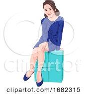 Girl Sitting On Block