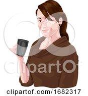 Poster, Art Print Of Woman Holding Coffee Mug