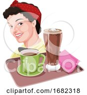 Poster, Art Print Of Waitress Holding Coffee And Milkshake On Tray