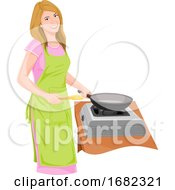 Poster, Art Print Of Housewife Preparing Food