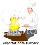 Poster, Art Print Of Chef Preparing Food