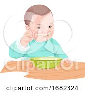 Boy Eating Food With Spoon