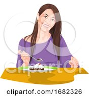 Woman Eating Using Fork